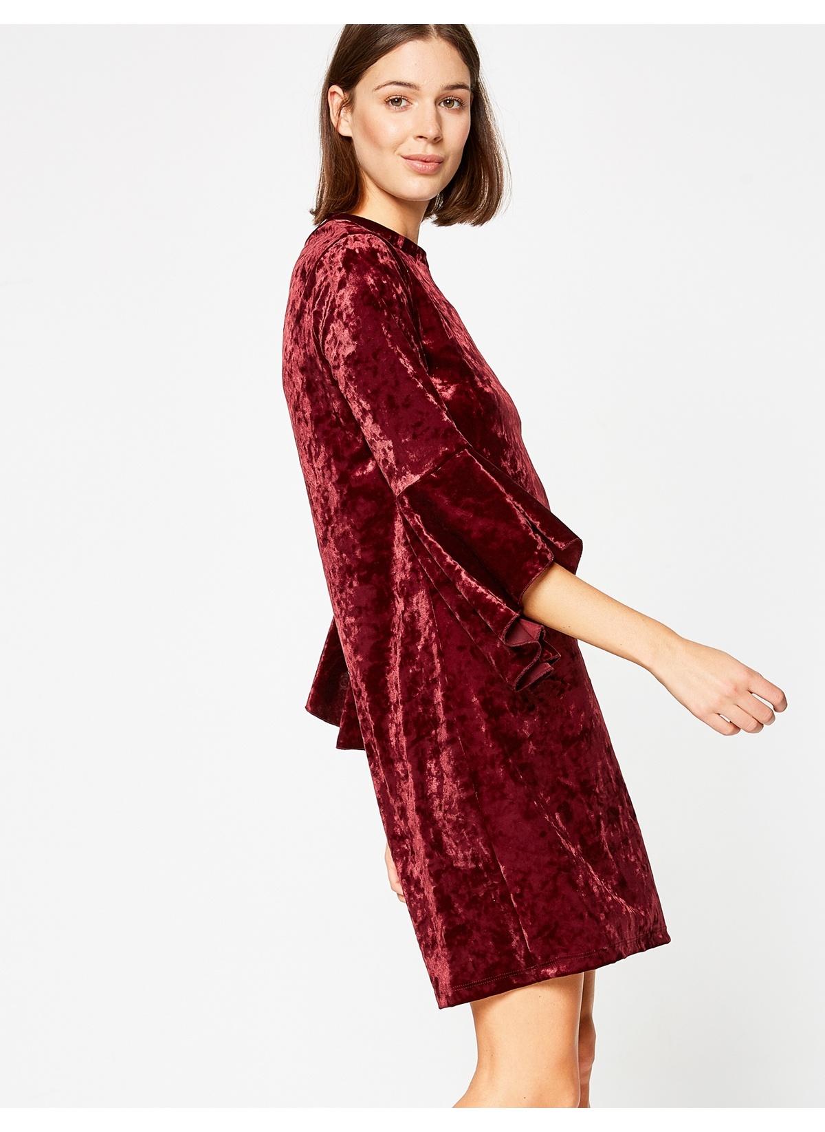 Koton Bordo Mini Abiye Elbise